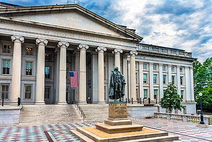 Photo of Albert Gallatin Statue US Flag US Treasury Department Washington DC