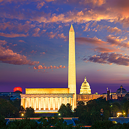 Photo of Washington DC monuments at sunset