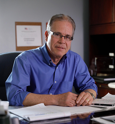 Senator Mike Braun at his desk