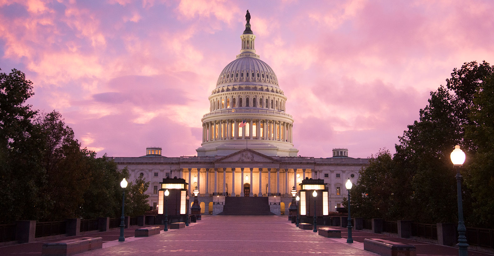 Capitol with pink sky